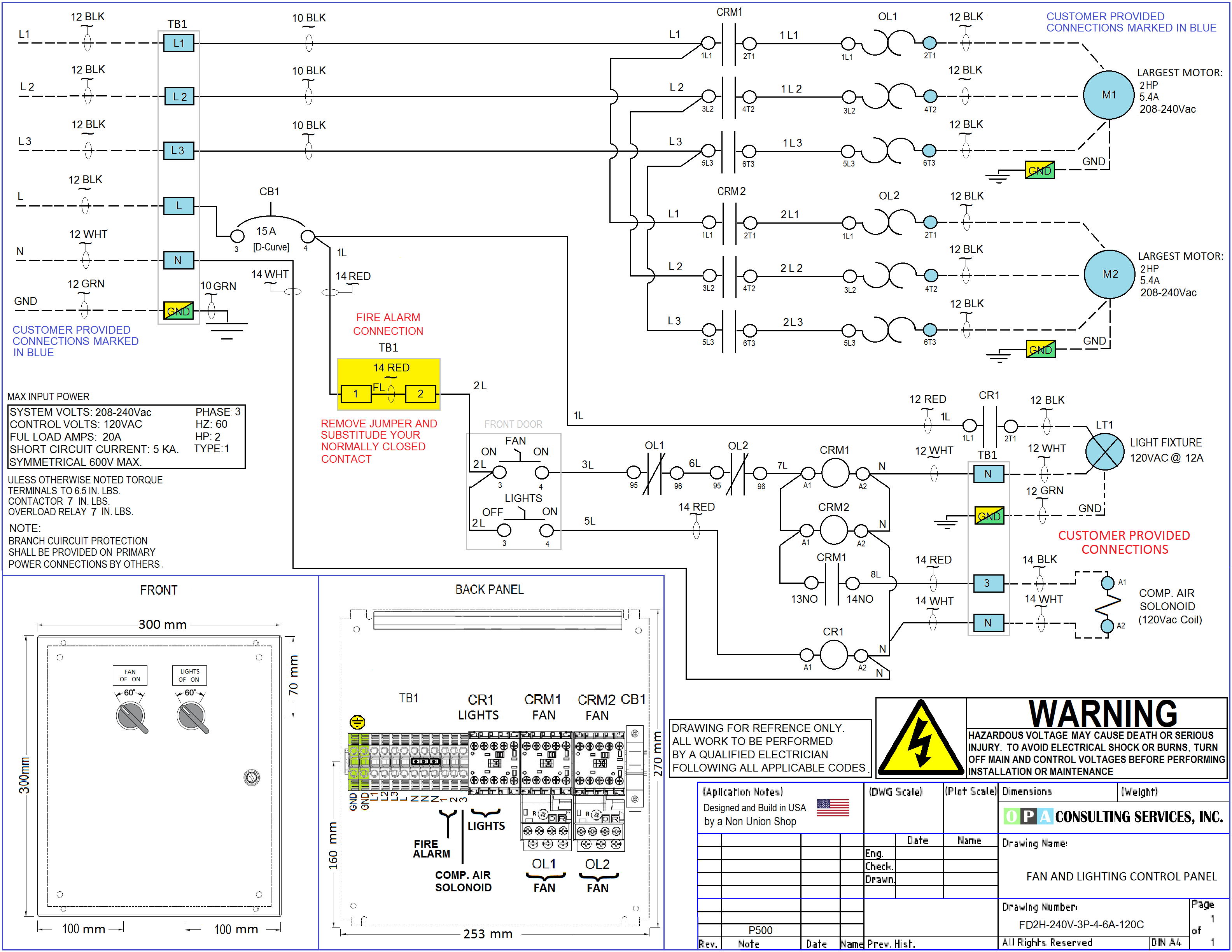 OPA Consulting Services, Inc.   Spray Booth Wiring Diagram      OPA Consulting Services, Inc.